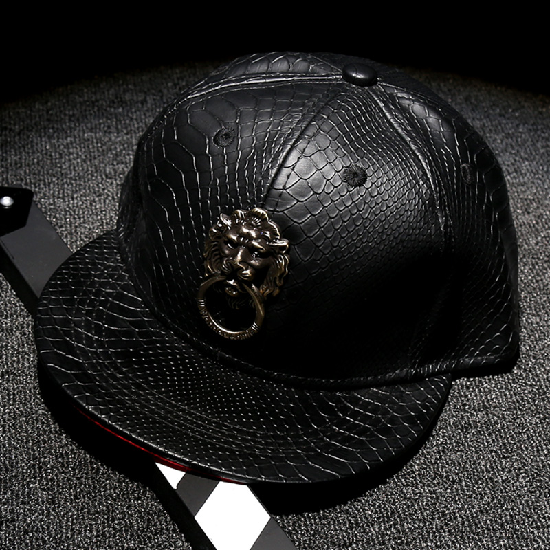 b93363557 Lion Design Fashion Baseball Caps Black Faux Leather PU Hats Man Adjustable  Hiphop Snapback Cap Specific Character Casquette-in Baseball Caps from  Apparel ...