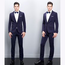 2017 new Italian Design Slim Fit blue Mens Suits Handsome Best wedding suits for men Tuxedos Formal Prom Suit (Jacket+Pants+Bow)