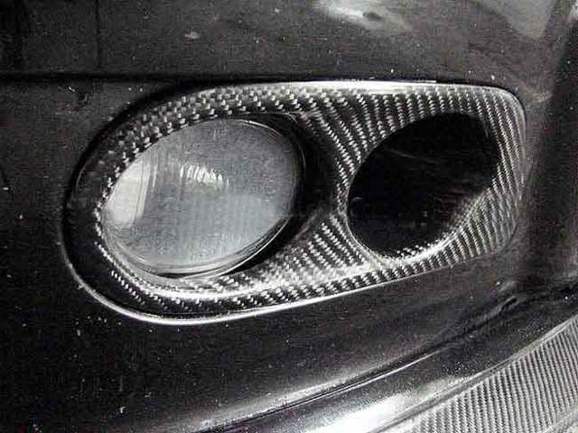 3k Real Carbon Fiber Fog Light Cover Air Duct 1 Pair For