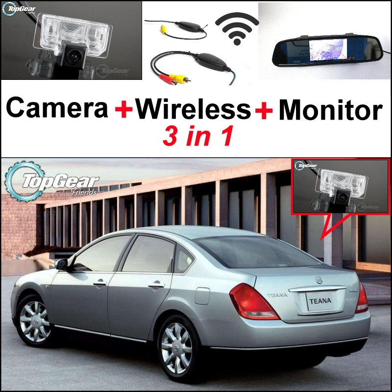 3 in1 Special Rear View Camera + Wireless Receiver + Mirror Monitor Backup Parking System For Nissan TEANA Cefiro 2003~2008 wireless pager system 433 92mhz wireless restaurant table buzzer with monitor and watch receiver 3 display 42 call button