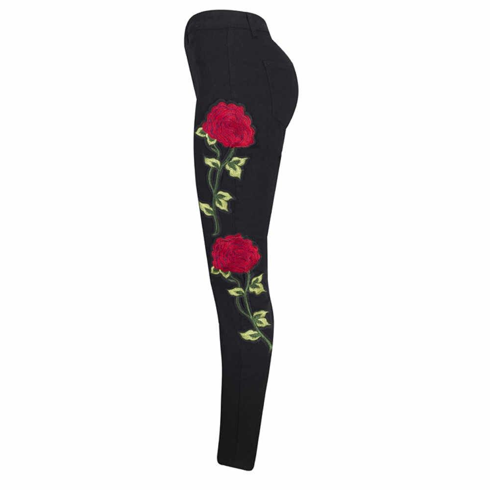 2019 для женщин вышивка цветами джинсовые рваные брюки стрейч джинсовые брюки-карандаши 3,18