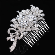 2015 Newest Fashion Bridal Hair accessories Wedding Flower Comb Rhinestone Crystal Bridesmaid Jewelry