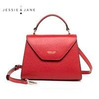 JESSIE JANE Women Leather Crossbody Handbag Stylish Top Handle Bag Shoulder Bag With Triangle Cover 1605
