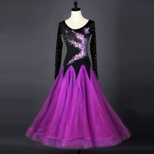 Standard Ballroom Dresses Adult Elegant Purple Ballroom Competition Dance Dress Women Tango Flamenco Waltz Dancing Skirt
