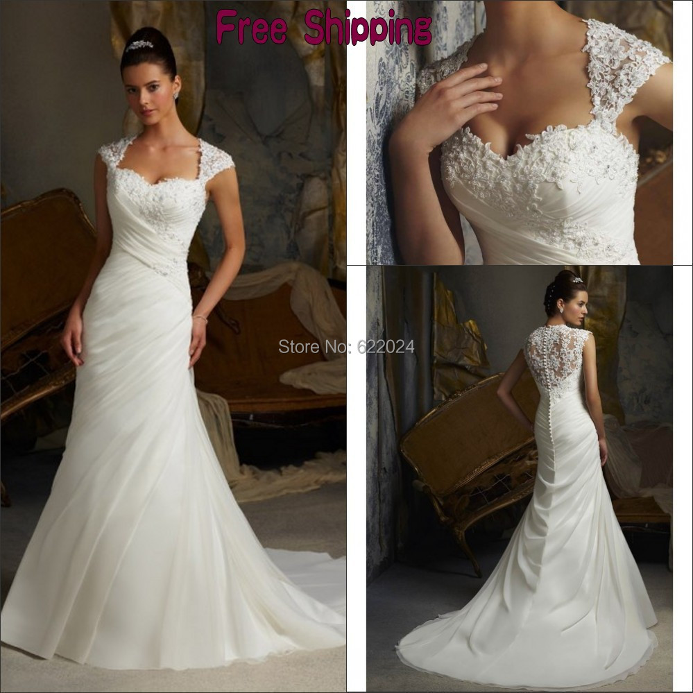 Free Shipping Customer Made A Line Sweetheart Court Train Lace