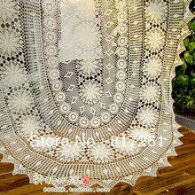 Free shipping oval beige cotton crochet lace tablecloth cover for dinning table decoration overlays for home decoration