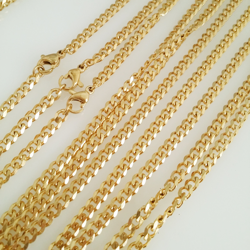 4mm width Gold Tone 316L stainless steel chain necklace men long punk statement curb Cuban chain necklace vintage men jewelry