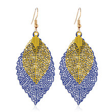 2019 Fashion Earrings For Women New Double-Layered Leaves Tassel Earrings Simple Retro Colored Metal Computer Leaves-Leaf Earrin(China)