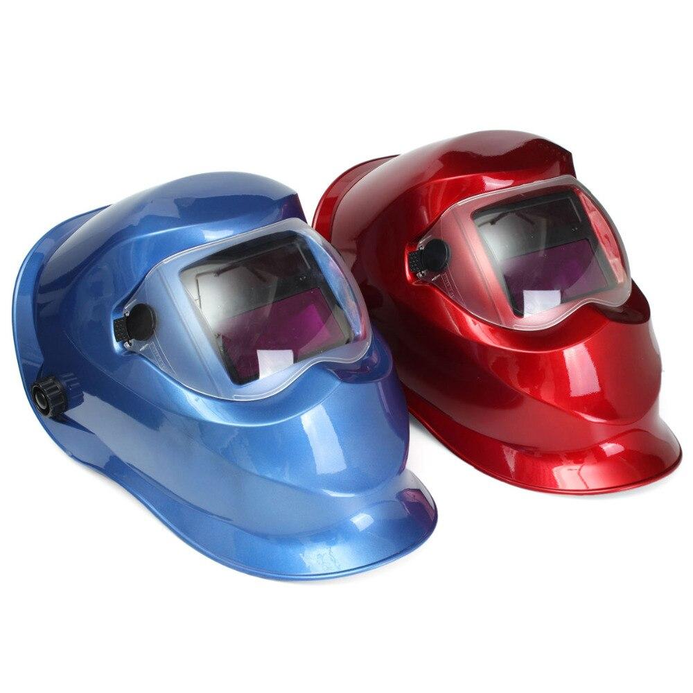 e9bebc2c29a776 Bleu Rouge Auto Assombrissement Broyage Casque De Soudage Masque Solaire  TIG MIG Électrique Soudeur Masque De Soudage Outil