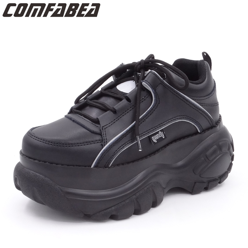 2019 Automne chaussures décontractées Femmes Noir Abricot Blanc chaussures à semelles compensées Creepers mocassins plats pour femmes Chaussures Harajuku Creeper Chaussure Confortable