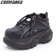 COMFABEA 2020 kliny buty dla kobiet wiosna trampki grube dno mieszkania platformy buty na co dzień panie Creeper Punk buty