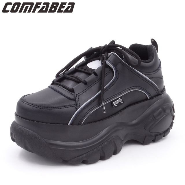 Comfabea 2020 Wiggen Schoenen Voor Vrouwen Lente Sneakers Dikke Bodem Flats Platform Schoenen Casual Dames Creeper Punk Schoenen