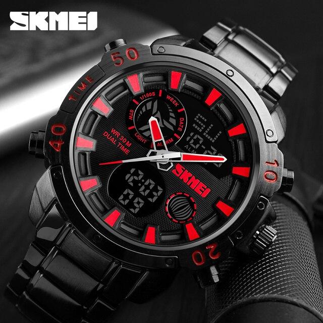 SKMEI Luxe Merk Heren Horloges Analoge Digitale Sport Quartz Horloge Mannen Militaire Waterdicht Klok Dual Tijd Casual Polshorloge