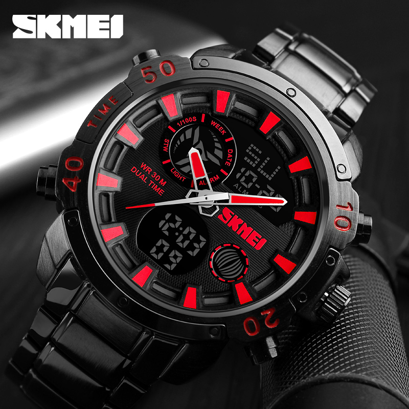 SKMEI Luxury Brand Mens Watches Analog Digital Sports Quartz Watch Men Military Waterproof Clock Dual Time Casual Wrist Watch 2016 new weide luxury brand quartz watches men dual time oversize clock men sports military leather strap fashion wrist watch