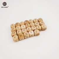 Let S Make Baby Teething Square Shape Beech Wood Letter Beads Crib Toy 12mm 52pc Teething