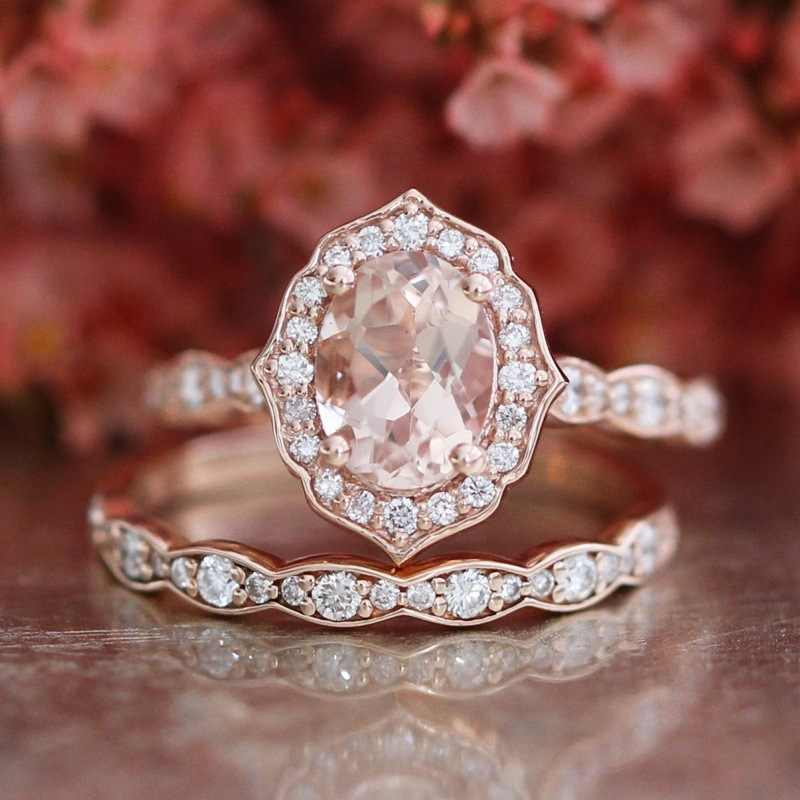 ERLUER Austrian Oval Crystal CZ Rings Set For Women Wedding Trendy Silver Rose Gold Color Jewelry Finger Fashion Love gifts Ring