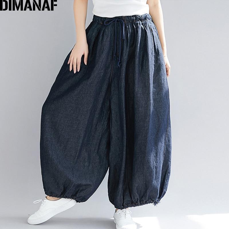 DIMANAF Plus Size Women Wide Leg Long Pants Autumn Jeans Pants Casual Vintage 2019 Oversized Elastic Waist Large Pantalones 5XL