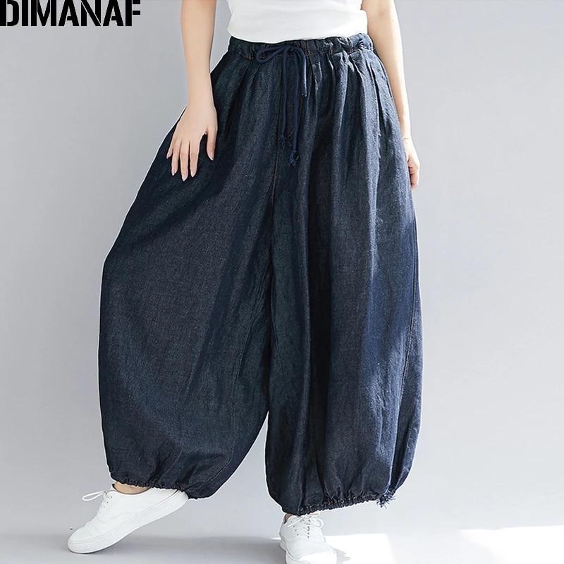 Женские широкие длинные брюки DIMANAF размера плюс, осенние джинсы, повседневные винтажные 2021, большие брюки с эластичной резинкой на талии 5XL