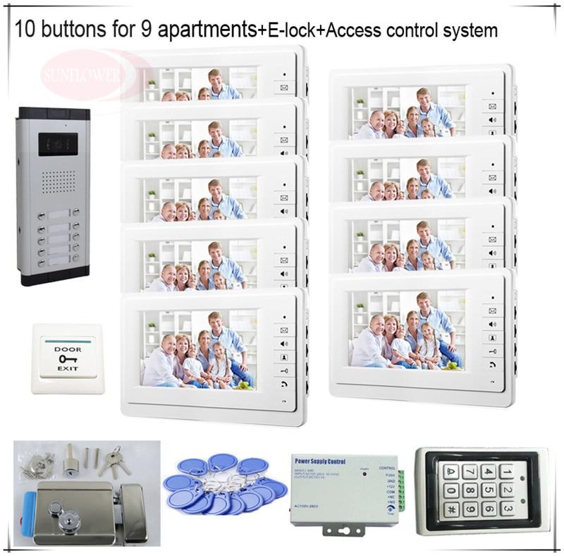 10 Пуговицы Цвет видеодомофонов Системы S 9 ЖК-дисплей безопасности Дверные звонки для 9 квартир + Система контроля доступа + E замок-