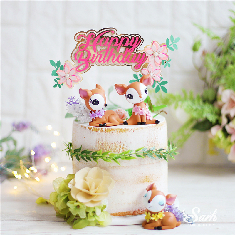 Bling Fawn Decoration Sika Deer Happy Birthday Flower Cake Toppers For Child Boy Girl Fairy Party Wedding Baking Supplies Gifts