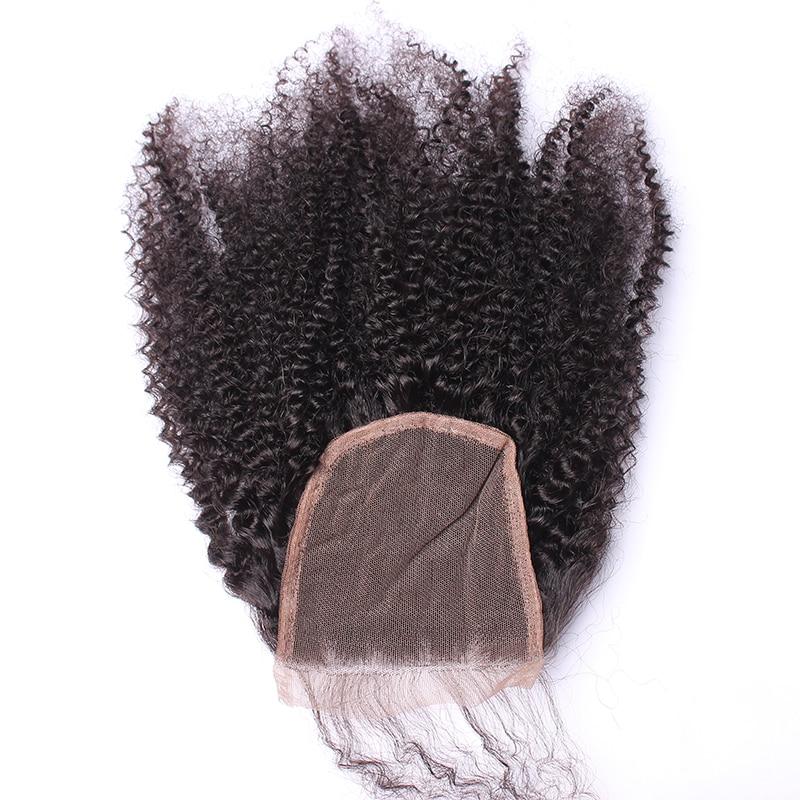 Afro Kinky Bouclés Dentelle Fermeture Avec Bébé Cheveux 4B 4C 100% - Cheveux humains (noir) - Photo 3