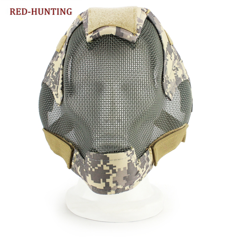 Military Airsoft Paintball Mask Tactical Protection Safety Steel Mesh Full Face Mask Jungle CS Full Face Mask