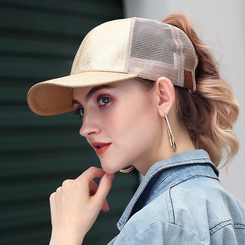 Ponytail Baseball Cap Women Messy Bun Baseball Hat Summer Mesh Trucker Hat  Snapback Girl Glitter Ponytail Baseball Cap 77965b1099b