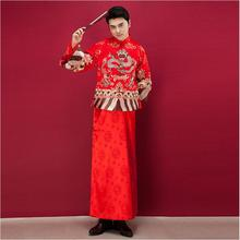 Dragon Gown Robe male 2017 new Chinese Wedding clothing menswear show summer Asian wedding gown robe kimono style suits