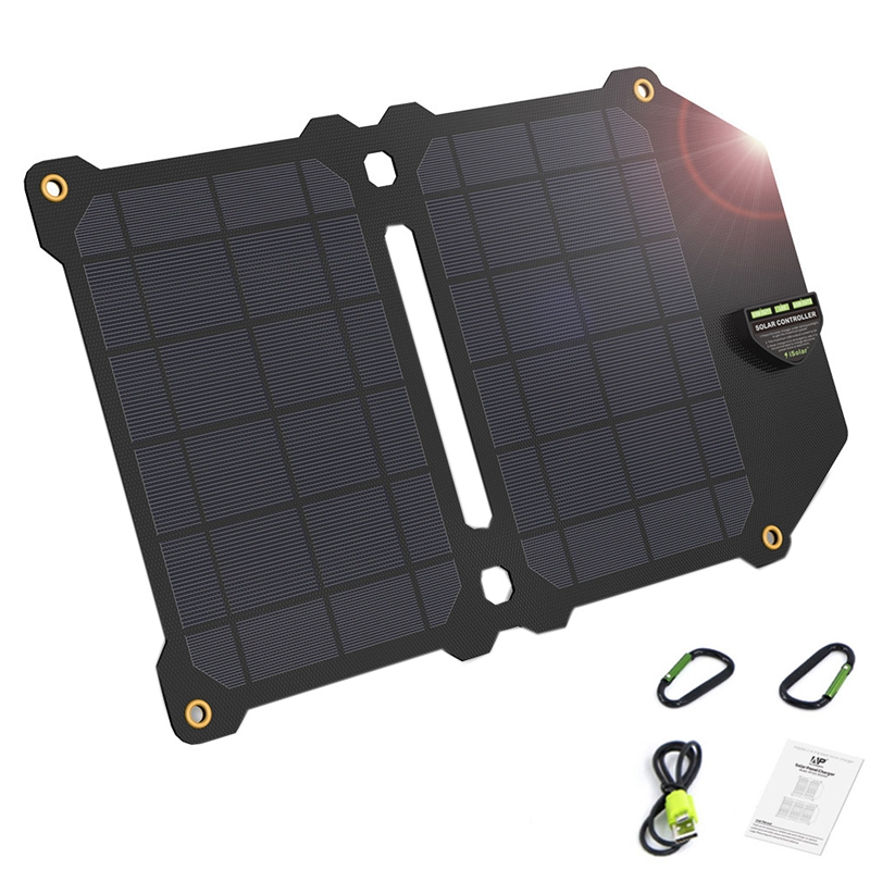 14W Foldable Solar Panel Portable 5V 2.4A Dual Usb Solar Charger Outdoor Camping Solar Conversion Charger For Outdoor Mobile P