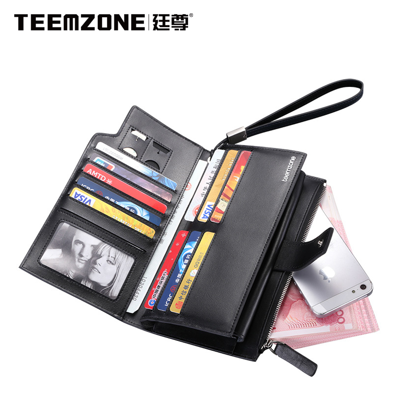 Teemzone Man Wallet Brand Mens Wallet Leather Genuine Large Capacity Men Wallets Top Cowhide Soft Clutch Bags Men's Purses 2018new men wallets luxury brand men wallet leather genuine cowhide men s clutch bags hot business casual purses man bag polo128