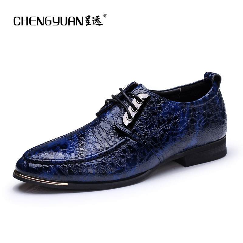 men luxury crocodile style genuine leather shoes casual business office wedding dress point toe handmade brogue footwear oxfords eu38 44 black brown color fashion style men s shoes genuine leather handmade round toe dress wedding brogue oxfored shoes