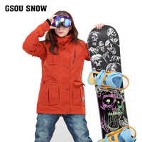 Womens orange medium long ski jacket multi pocket snowboarding jacket female waterproof 10K thermal wear resistant snow coat