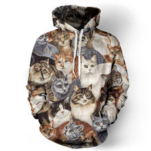 3D Cat Print Hoodies Women Casual Loose Full Sleeve Sweatshirts Men's Luxury Clothing