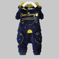 Baby Boy Kleding Sets 2016 Nieuwe Lente Herfst Lange Mouwen tops + broek past voor kinderkleding leuke animal ontwerp hooded set