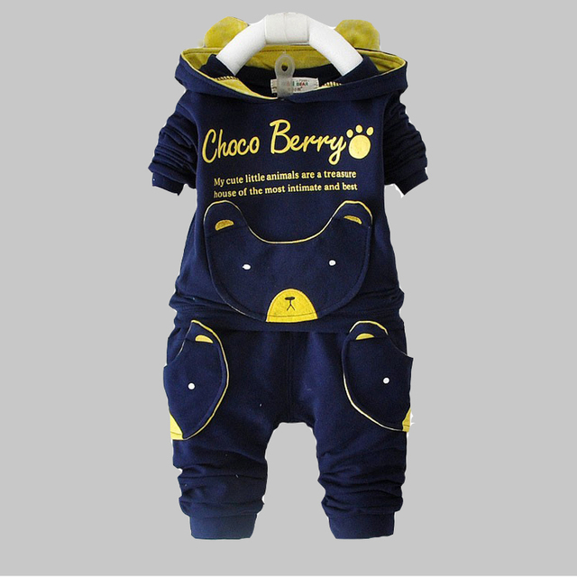 Baby Boy Clothing Sets 2016 New Spring Autumn Long Sleeve tops + pants suits for children clothes cute animal design hooded set