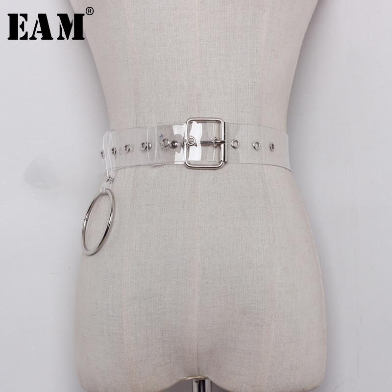 [EAM] Personality Fashion Ring All-match Buckle Transparent Width Belt Decoration Waist Men Women Fashion Tide JA40600