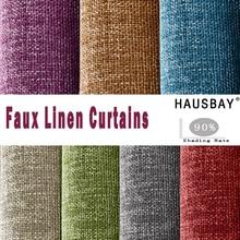 HAUSBAY, одноцветные затемненные шторы из искусственного хлопка и льна, современные оконные шторы для спальни, занавески для гостиной на заказ