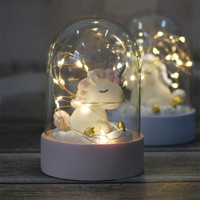 1pc Unicorn Light Resin Crafts Birthday Party Decorations Kids Gift Crystal Ball Unicorn Party Baby Shower Wedding Decoration S
