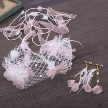 Bridal Wedding Veil Headband Earrings Set Pink Flower Fake Pearls Tassel Feather Fairy Marriage Accessories(China)