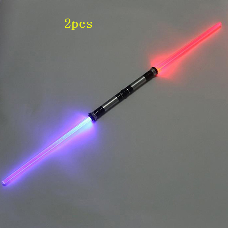 2 Pieces Sound Lightsaber Cosplay Props Kids Double Light Saber Toy Sword for Boys Christmas Gifts ...