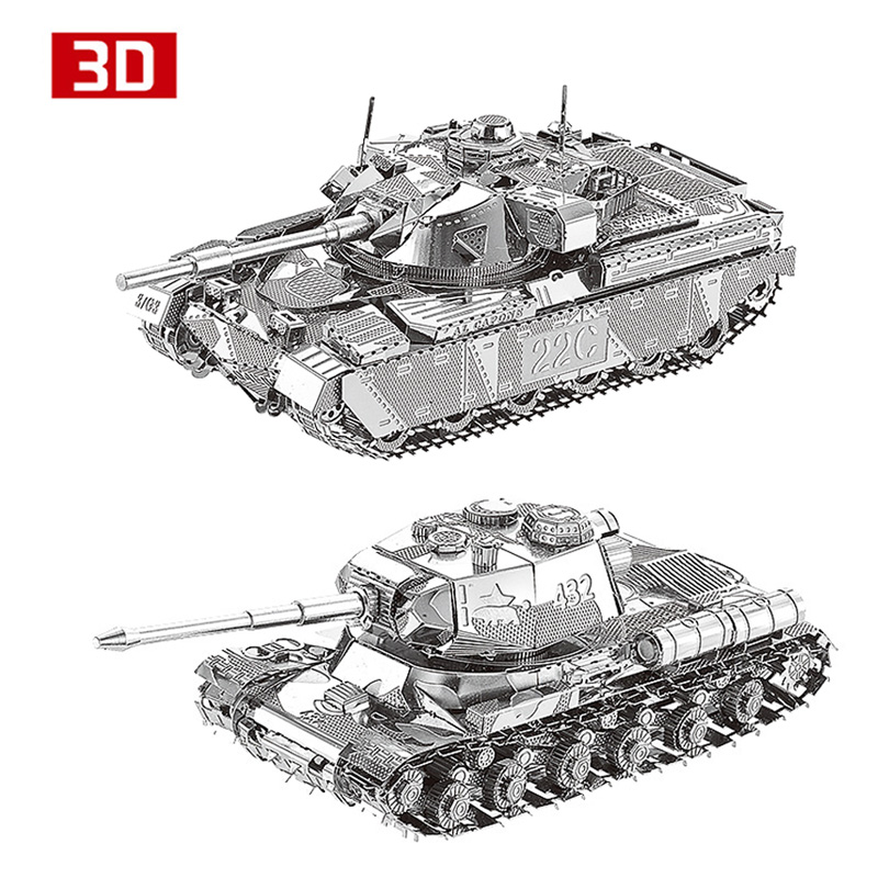 2pcs 3D Metal Nano Puzzle JS-2 Iwan The Great's Bell Tower Chieftain MK50 Tank Assemble Model Kit DIY 3D Laser Cut Jigsaw Toy metal puzzle diy 5pcs set tank model 3d model jigsaw metal scorpio tank tiger tank 3d model toy puzzle educational toys