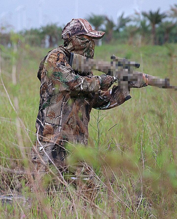 Costume de Camouflage bionique Ultra-mince d'été Anti-moustique pêche vêtements de chasse tactique Ghillie costume veste pantalon ensemble - 4