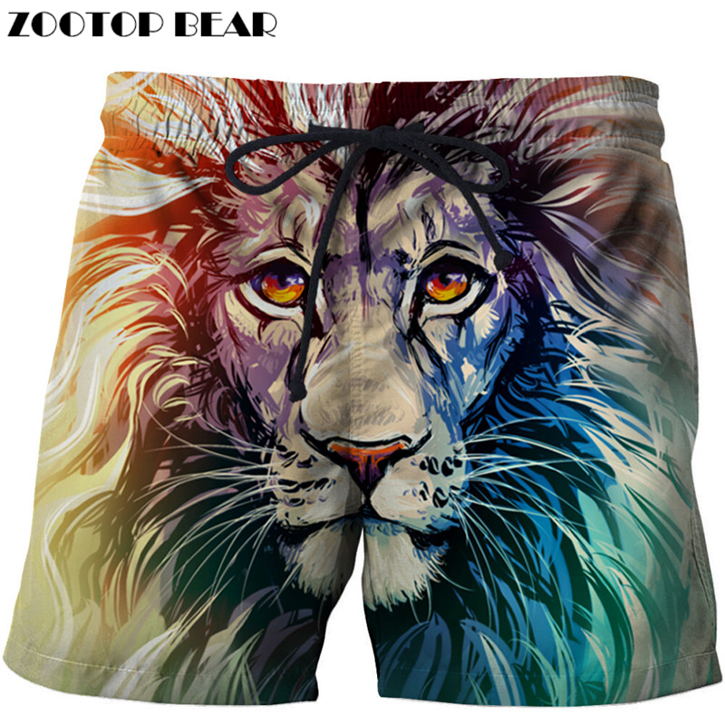 Colorful Lion 3D Printer Men Shorts Plus Size Breathable Beach Brand Clothing Loose Homme Shorts Quick Dry Polyester Trousers Dr