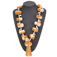 CDN013 Fancy Cute Pom Pom Necklace Long Ball Charms Tassel Statement Long Necklaces For Girls Fashion