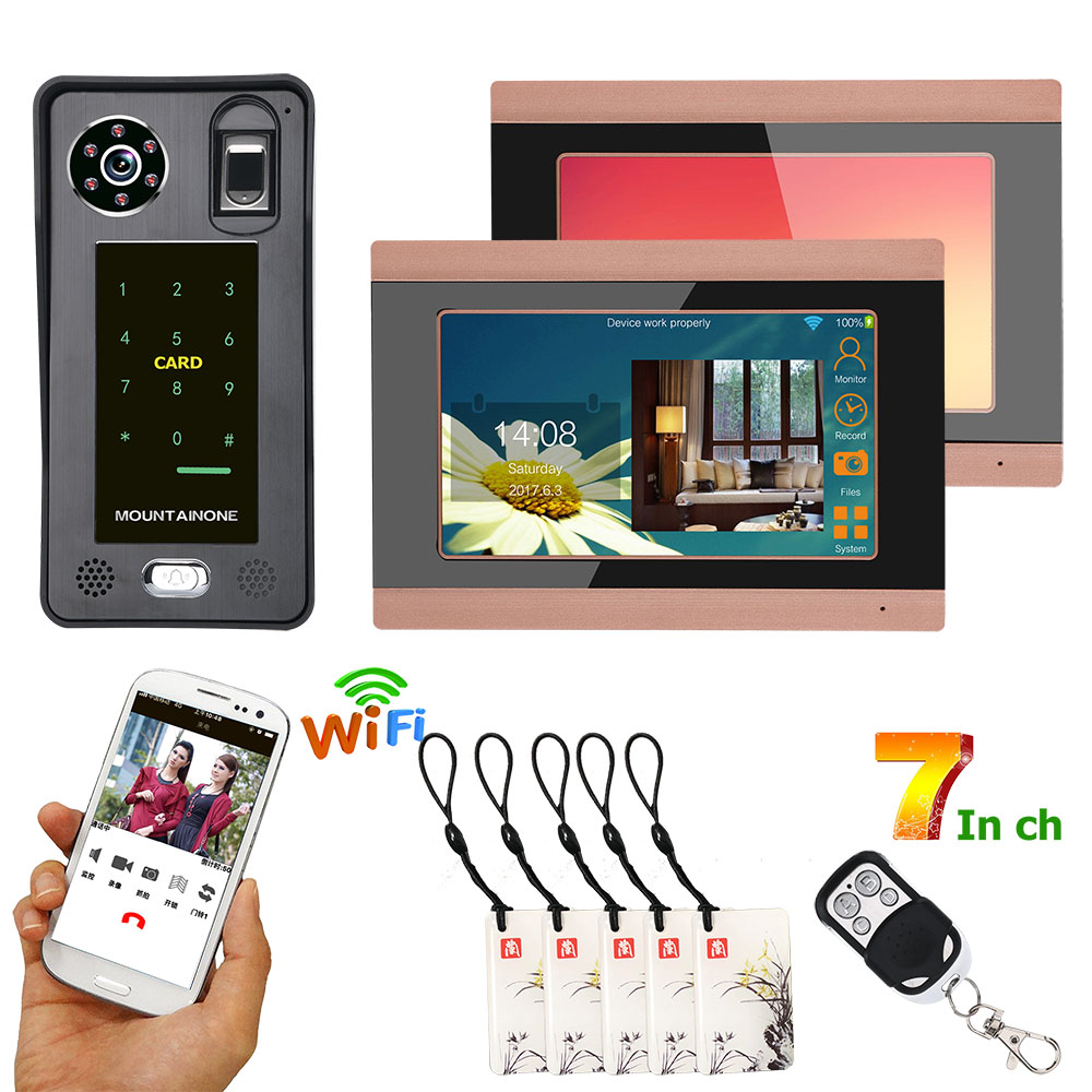 Color Monitors 7inch Wired Wifi Fingerprint IC Card Video Door Phone Doorbell Intercom System With Door Access Control System