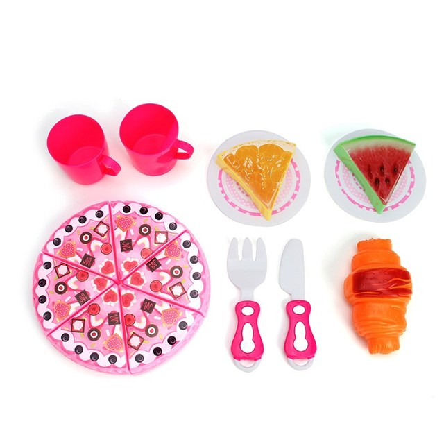 14pcs Plastic Simulation Pizza Toy Kids Children Kitchen Utensils Food  Cooking Pretend Play Set Toy Gift