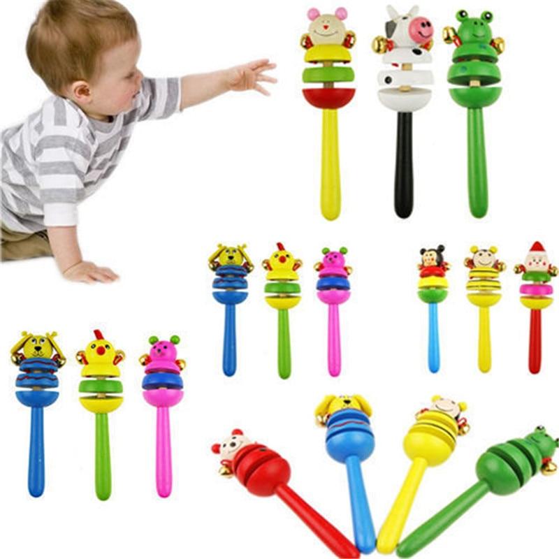 Baby Toy Cartoon Animal Wooden Handbell Musical Developmental Instrument US