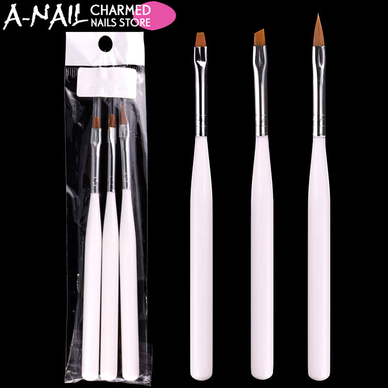 3pcs/set Nail art Brush Professional Drawing Painting Nail Pen UV gel nail salon polish brushs for Nail false tips Manicure Tool цена