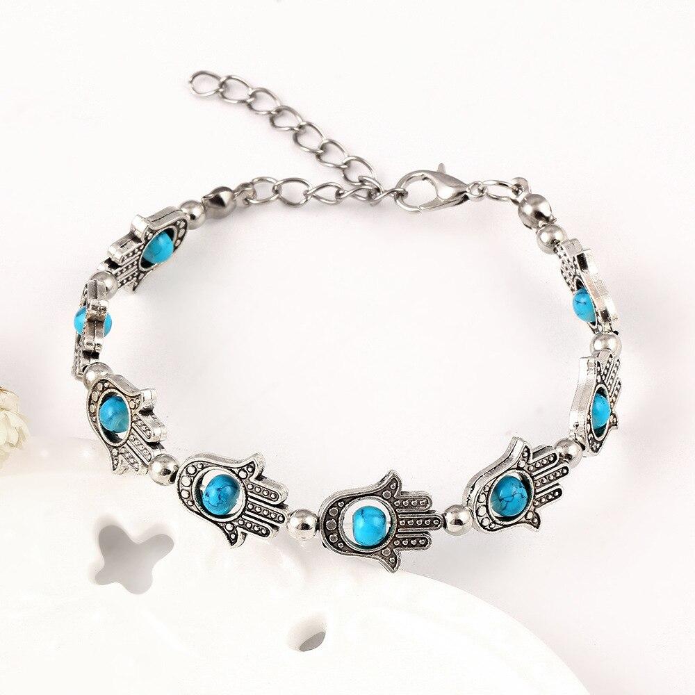 Blue Evil Eye Bracelet Stainless Steel Hand of Fatima Hamsa Charm Rose Gold Link Wristband