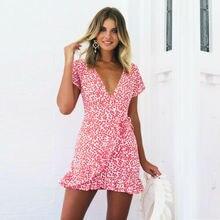 Summer Women Print Mini Dresses HOT Casual Short Sleeve V-Neck High Waist Ruffles Dress